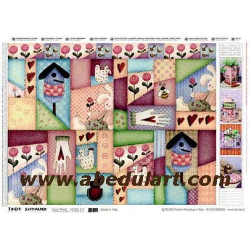 Papel decoupage - Country patchwork