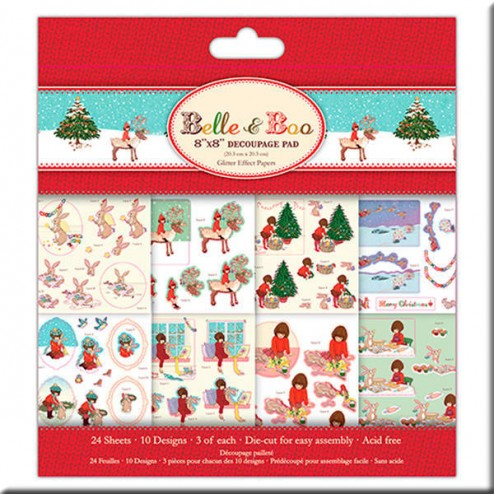 Block papeles precortados Glitter - Belle and Boo Christmas