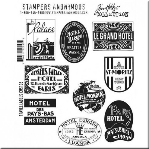 Sellos de caucho Travel Labels Tim Holtz