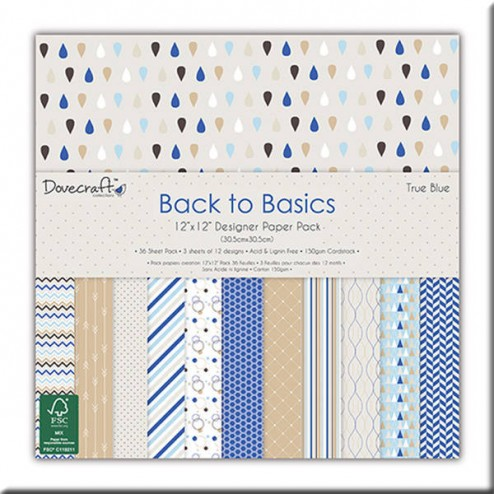 Papeles Scrapbooking - Back to Basic True Blue (30x30)