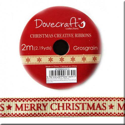 Cinta Grosgrain Crema MERRY CHRISTMAS - Glad Tidings