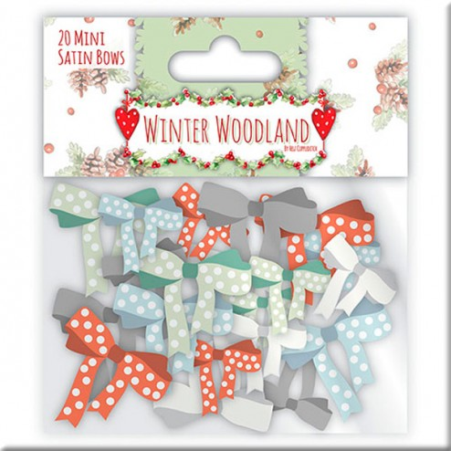 Mini Lazos de Cinta de Raso - Winter Woodland
