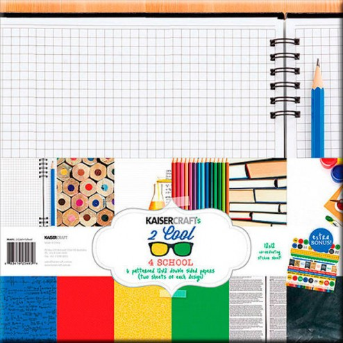 Papeles Scrapbooking - 2 Cool 4 School Collection (30 x 30)