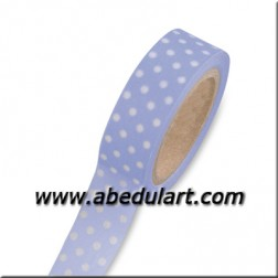 Scrapbooking - washi tape azul claro con topitos blancos