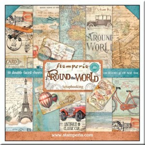 Papeles Scrap Around the World Stamperia (30x30)
