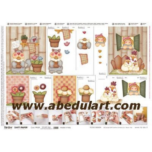 Papel decoupage - Gatos y gallinas country