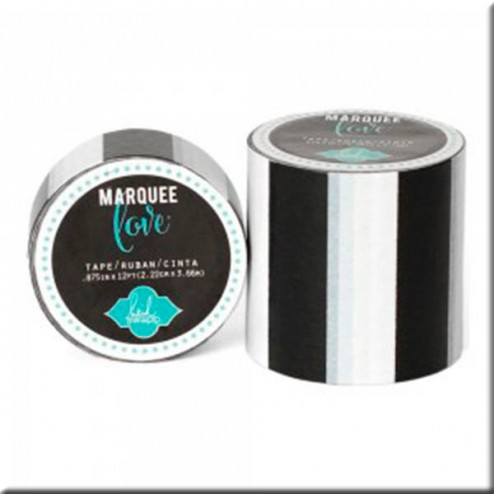 Marquee Love - Washi Tape Rayas Blancas, Negras y Grises (5,08 cm)