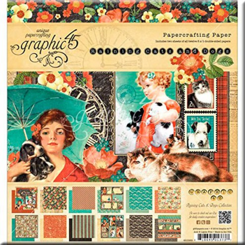 Papeles Scrapbooking - Raining Cats and Dogs (30x30)