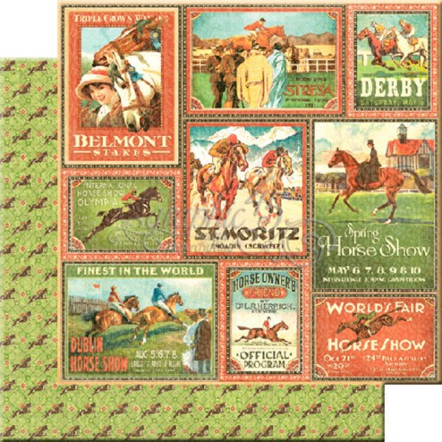 Papel Scrap Belmont Stakess (30x30) Off to the Races