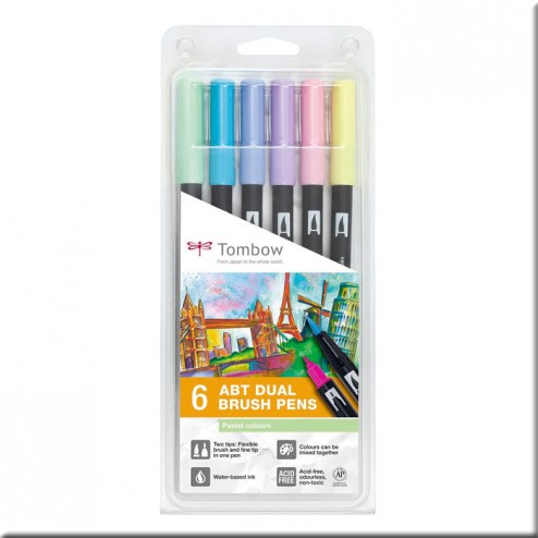 Set 6 Rotuladores Tombow Colores Pastel