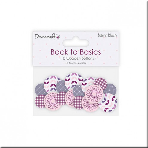 Botones de madera decoradosBack to Basics Berry Blush