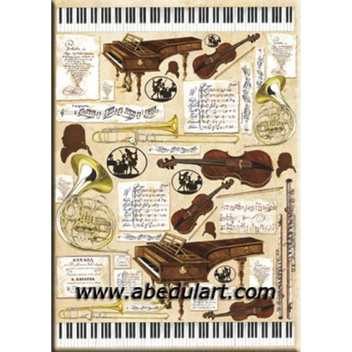Papel decoupage - Instrumentos musicales