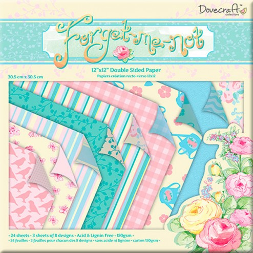 Papeles doble cara - Dovecraft Forget Me Not (30,5x30,5)
