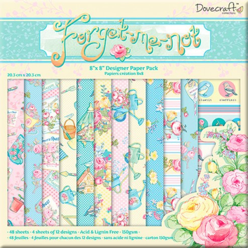 Papeles Scrapbooking - Dovecraft Forget Me Not (20x20)