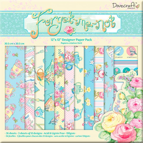 Papeles Scrapbooking - Dovecraft Forget Me Not (30,5x30,5)