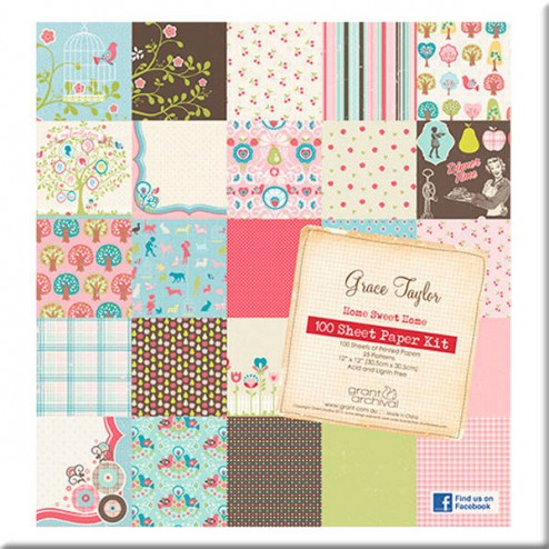 Papeles Scrapbooking - Home Sweet Home (30x30) - Grace Taylor