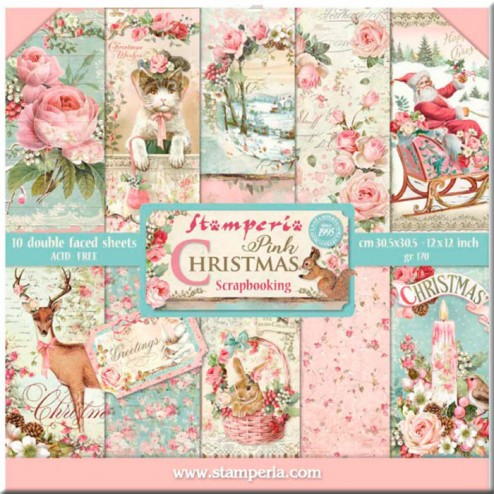 Papeles Scrap Pink Christmas Stamperia (30x30)