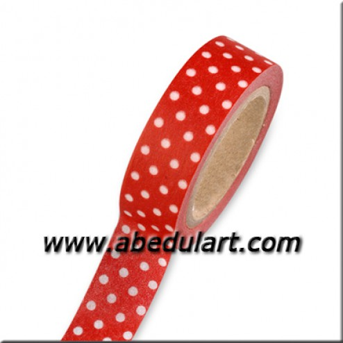 Scrapbooking - washi tape roja con topitos blancos