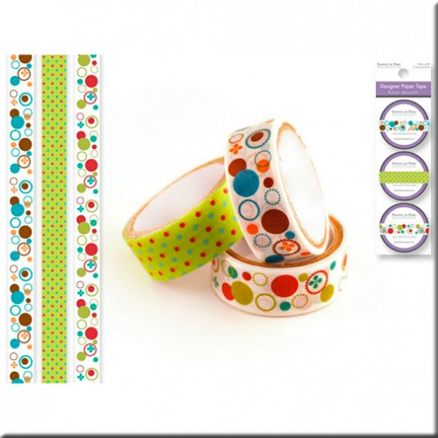 Set 3 Washi Tape - Lunares y Círculos de Colores