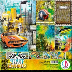 Papeles Scrapbooking Start Your Engines (30x30)