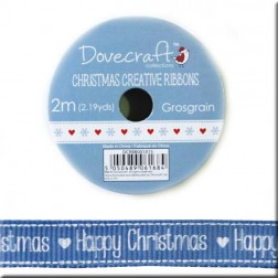 Cinta Grosgrain Azul Happy Christmas - Glad Tidings