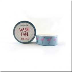 Washi Tape Azul Flamencos