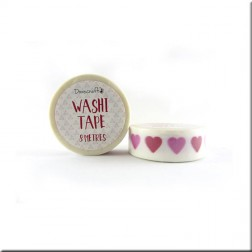 Washi Tape Blanco Corazones