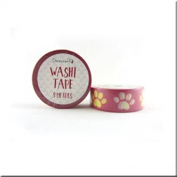 Washi Tape Rosa Huellas