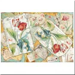 Papel de Arroz Tulipanes y cartas Stamperia (48x33)