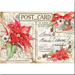 Papel de Arroz Post Card Poinsettia Roja Stamperia (48x33)