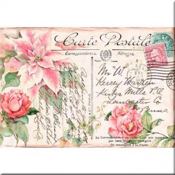 Papel de Arroz Post Card Poinsettia Rosa Stamperia (48x33)