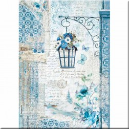 Papel de Arroz Faro y Flores Blue Land Stamperia (A4)