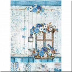Papel de Arroz Ventana Blue Land Stamperia (A4)