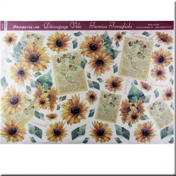 Papel decoupage - Girasoles y cartas (50 x 35)