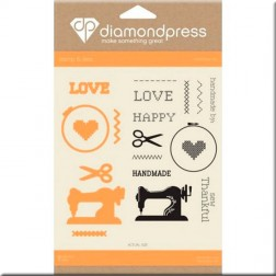 Set Troqueles y Sellos Handmade Love Diamond Press