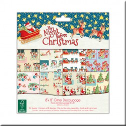 Papeles decoupage 3D Glitter - The Night Before Christmas