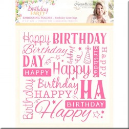 Carpeta Embossing Birthday Greetings Birthday Party