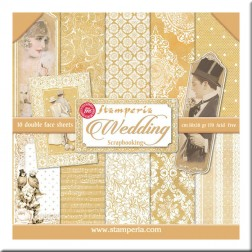 Papeles Scrap Wedding Gold Stamperia (30x30)
