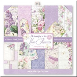 Papeles Scrap Lilac Flowers Stamperia (30x30)