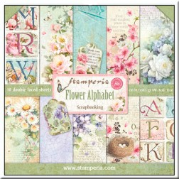 Papeles Scrap Flower Alphabet Stamperia (30x30)