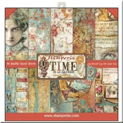 Papeles Scrap Time is an Illusion Stamperia (30x30)
