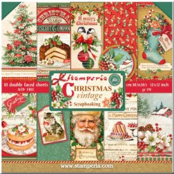 Papeles Scrap Christmas Vintage Stamperia (30x30)