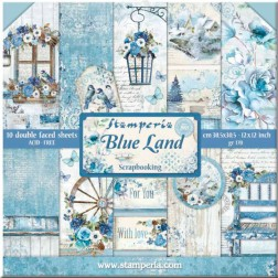 Papeles Scrap Blue Land Stamperia (30x30)