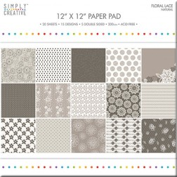 Papeles Scrapbooking Floral Lace Natural (30x30)
